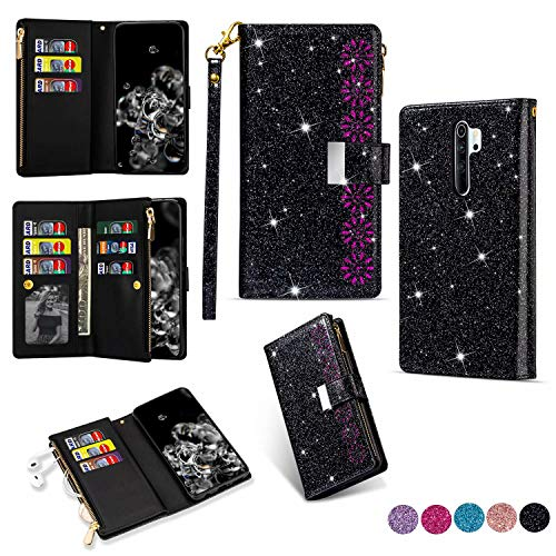 Miagon Reißverschluss Brieftasche Glitzer Hülle für Xiaomi Redmi Note 8 Pro,Flip Handytasche mit 9 Kartenfächer Handschlaufe PU Leder Magnet Bling Multifunktions,Schwarz