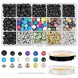 WOWOSS Kit de Granos Lava para Hacer Pulsera Collar, Piedras de Perlas Naturales Negras y Coloreadas con 2 Rollos Elásticos (600 piezas)