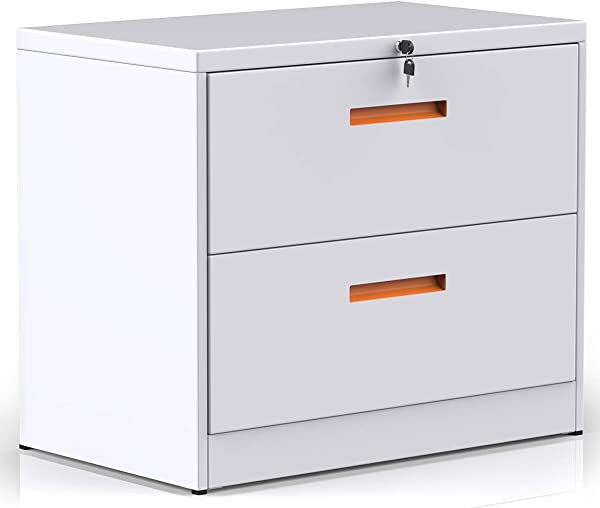 2 Drawers Lateral File Cabinet With Lock Lockable White Metal Filing Cabinet For Home And Office