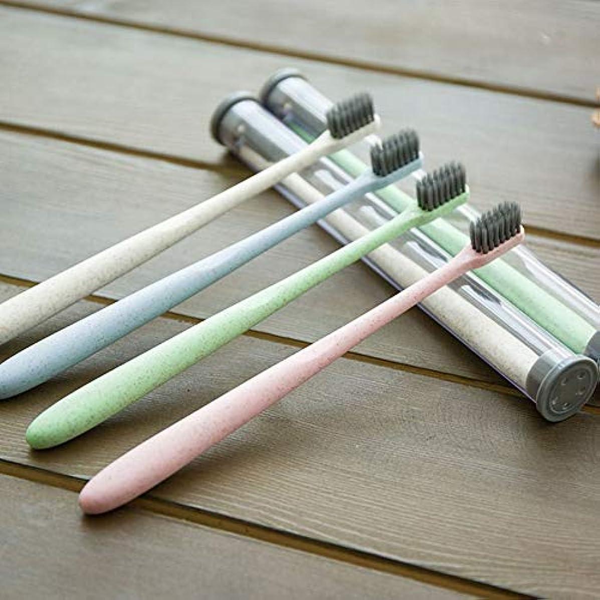 ドループ事実上カレンダーホームトラベル大人小麦わら歯ブラシポータブルソフト歯ブラシクリーニング歯ガードツール収納ケース付き - グリーン