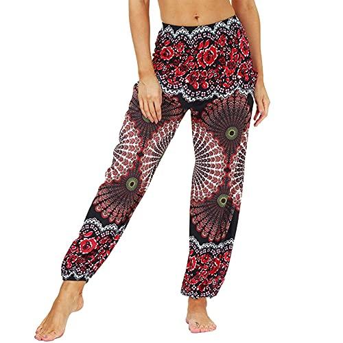EpicLife Pantalones bohemios para mujer, diseño retro bohe con estampado de piernas anchas, cintura alta, casual, sueltos, pantalones de verano, Negro Rojo, L