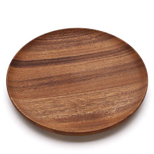 ZfgG Assiette ronde de fruits en bois, Premier Housewares Acacia ronde en bois bol à salade (Size : L)