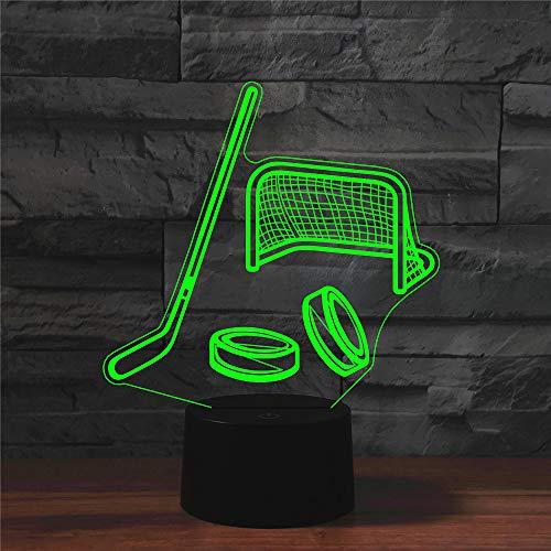 3D Optische Illusions Lampen Hockeyausrüstung Schreibtisch Tischlampe 7 Farb-Touch-Lampen-für Kinder Schlafzimmer Geburtstagsgeschenke Geschenk mit USB-Kabel Fernbedienung