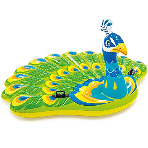 LVYE1 MRMF Aufblasbarer Pool, Riesiger Aufblasbarer Pfauenpool Schwimm-Aufsitz-Schwimmring Für Erwachsene Kinder, Luftmatratze Strandkorb, 195 * 165 * 95CM