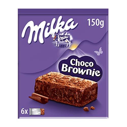 Milka Choco Brownie Bizcocho de Chocolate con Leche de Los Alpes 6 Bolsitas, 150g