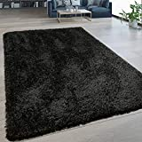 Alfombra De Salón Pelo Largo Lavable Shaggy Estilo Flokati Monocolor En Negro, tamaño:140x200 cm
