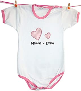 """Body in vari colori con nome personalizzato""""Mamma + nome Bambino"""""""