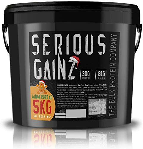 The Bulk Protein Company - SERIOUS GAINZ Whey Protein Powder 5kg - Weight Gain, Mass Gainer - 30g Protein Powders - Gingerbread