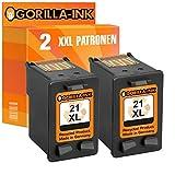 Gorilla de Ink® 2Cartuchos de Tinta XXL refabricado para HP 21XL negro D1400D1420D1430D1445D1450D1455D1460D1500D1520D1530D1560, D1568F2100