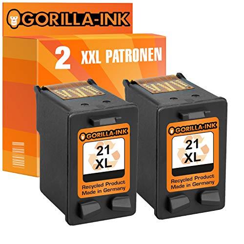 Gorilla-Ink 2X Druckerpatrone XXL remanufactured für HP 21 XL Schwarz D1400 D1420 D1430 D1445 D1450 D1455 D1460 D1500 D1520 D1530 D1560 D1568 F2100