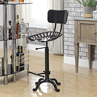 CAROLINA CHAIR Farmhouse Tractor Seat Stool with Backrest, Black