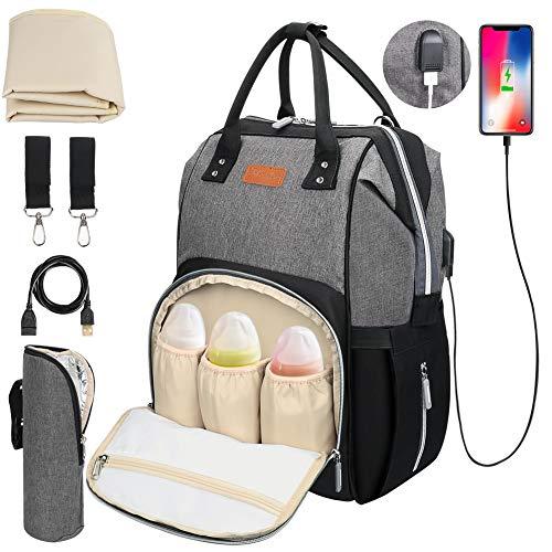 DIAOPROTECT Baby Wickelrucksack, Wickeltasche mit Wickelunterlage, Multifunktional Wickeltasche Rucksack Große Kapazität Babytasche Reisetasche für Unterwegs, Oxford Babyrucksack mit USB-Lade Port