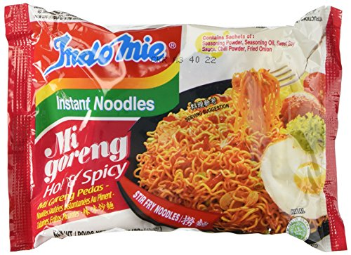Indomie Instant Fried Noodles Hot & Spicy (Pack of 10) by N/A