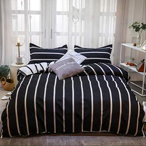 N/D Simple Brushed Aloe Cotton Four-piece Polyester Student Dormitory Three Four-piece Bed Sheet Quilt Cover Gift Bedding Pillowcase 1m Bed(3pcs) black strips