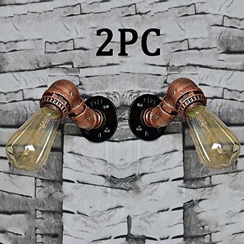 QTRT Lámpara De Pared For Tuberías De Agua (2 Piezas), Lámpara De Pared De La Industria Retro Nostálgico De Creative Art Loft, Iluminación De Hierro Forjado En El Pasillo De Cafe Bar Vintage, Aplique