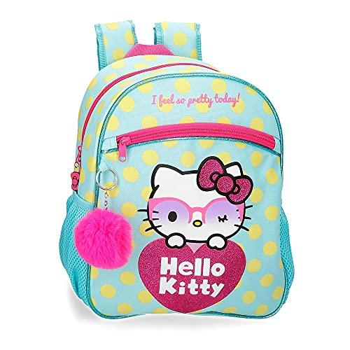 Hello Kitty Pretty Glasses Mochila Escolar Adaptable a Carro Verde 27x33x11 cms Poliéster 9,8L