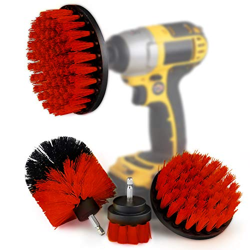 4 Pcs Drill Brush Scrub Brush Electric Drill Attachment Power Scrubber Cleaning Kit, for Cleaning Bathroom,Pool Tile,Flooring,Brick,Ceramic,Marble,Car & Grout All Purpose Drill Scrub Brush (Red)