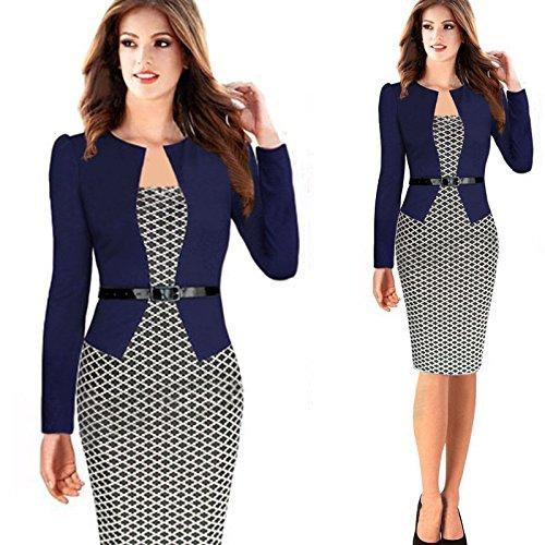 Minetom Damen Hahnentritt Elegant Kleider Business Kleider Abendkleid Etuikleid Casual Knielang Party Dress mit Gürtel Marine DE 42 - 2