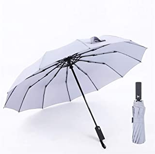 YWSCXMY-AU 115CM 12 Spokes Fully Automatic Umbrella Three Folding 210tT Pongee Strong Windproof Umbrella for Business Men Women (Color : Gray)