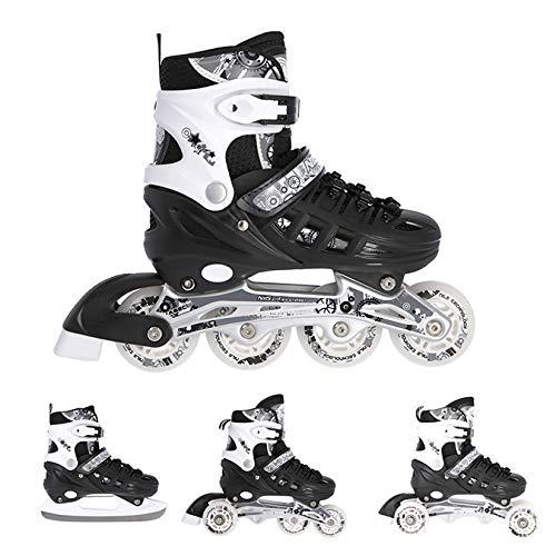 Nils Inlineskates Rollschuhe Schlittschuhe # 4in1 verstellbar Inline Skates EIS Sport Hockey Mädchen & Junge & Damen NH10905 (Schwarz, L (39-42))