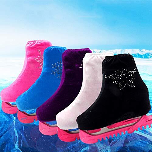 SEGRJ 1 Paar Rhinestone Decor Velvet Tuch Damen Fashion Figure Skate Shoes Cover