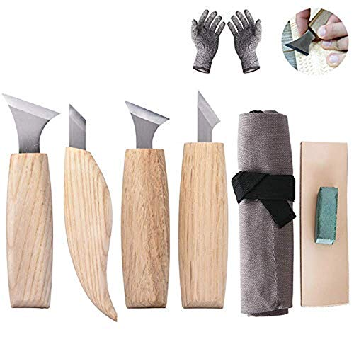 8 PCS Wood Carving Tools Set Wood Carving kits for Beginners and Professionals, Tools Roll Contains 4 pcs Wood Carving Knives, Polishing compound and Canvas bag.