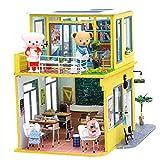 Robotime Puppenhaus Möbel & EIN Paar Teddybär Puppen - 1/24 Skala DIY Miniatur Geschenk für...