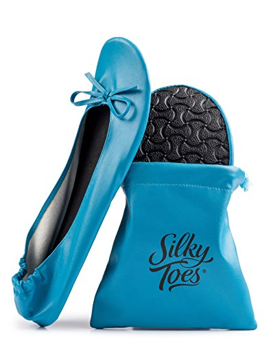 Silky Toes Women's Foldable Portable Travel Ballet Flat Roll Up Slipper Shoes with Matching Carrying Pouch (Large, Sky Blue)