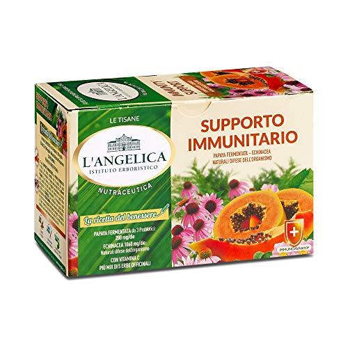 L'Angelica, Tisana Funzionale Supporto Immunitario, Infuso con Papaya Fermentata, Echinacea, Vitamina C e Più di 5 Mix di Erbe Officinali, Senza Lattosio, Senza Glutine e Vegan - 10 Confezioni