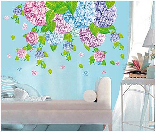 Pmhc muursticker, twee kleuren, warme romantische hortensia, slaapkamer, woonkamer, wand, hal, glazen deur en raam, decoratieve stickers