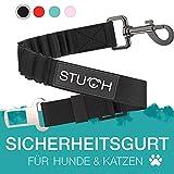 STUCH Cinturón de Seguridad Universal para Perros y Gatos de la Marca Apto para Todo Tipo de Razas y Coches. Seguro para tu Mascota en el Coche.