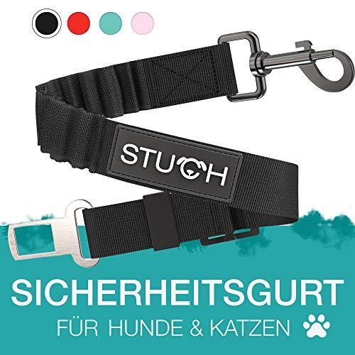 STUCH ® Universeller Bungee Sicherheitsgurt für Hunde & Katzen - Passend für alle Hunderassen & Autotypen (Schwarz)