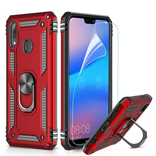 LeYi Hülle Huawei P20 Lite Handyhülle,360 Grad Drehbar Ringhalter Cover TPU Bumper Stoßdämpfung Schutzhülle mit HD Folie Schutzfolie für Hülle Huawei P20 Lite Handy Hüllen Rot Red
