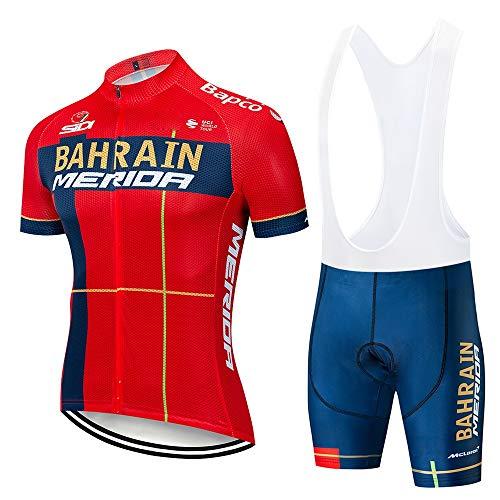 FMHAO Uomini Traspirante Asciugatura Rapida Maglia Manica Corta+Pantaloncini Confortevole Gel Pad 3D Abbigliamento Ciclismo Uomo Set