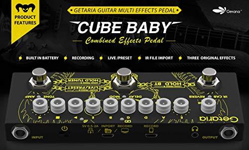 Getaria Pedal de efectos para guitarra eléctrica, pedal de efectos combinado con distorsión, overdrive, efectos sin afinación, modelado por infrarrojos, batería integrada