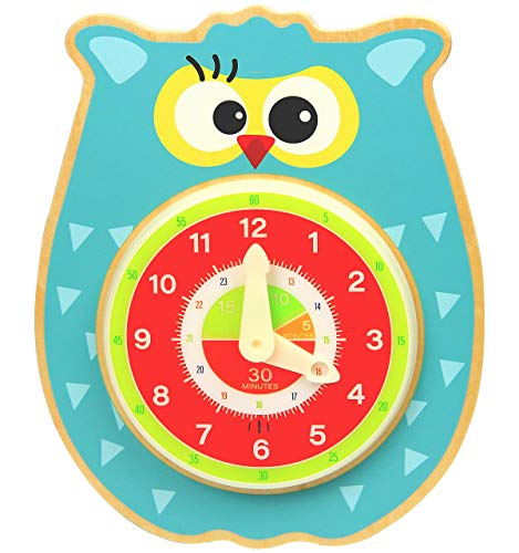 Pidoko Kids Teaching Clock Owl with Sound - Talking Clock for Children to Learn Telling time