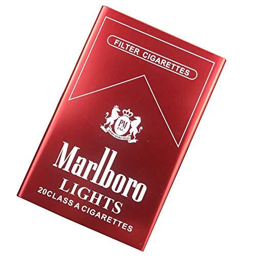 SWWLKJ La Caja de Cigarrillos de Aleación de Aluminio Sostiene 20 Cigarrillos Tapa Deslizante Ultrafina Portátil Automático Tapa Emergente Rojo Marlboro
