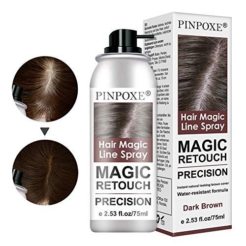Ansatzpuder, Haar Concealer zur Haarverdichtung für Frauen und Männer, Haaransatz Puder, Hair Line Spray, Kaschieren vom Haaransatz, wasserfestes Haar Make-up zum Ansatz kaschieren 75ml Dark braun
