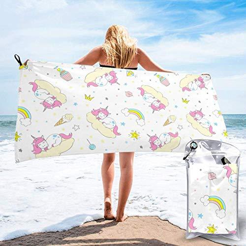 Toalla de secado rápido de microfibra lindo unicornio súper absorbente toallas deportivas de secado rápido para viajes al aire libre, playa, gimnasio, camping, mochilero 27.5 × 55 pulgadas