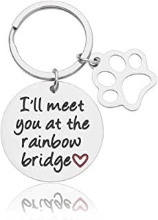 Pet Memorial Keychain Pet Loss Sympathy Gifts for Dog Lovers Men Women Mourning Jewelry Pendant Engraved I'll Meet You at The Rainbow Bridge Remembrance Gifts for Him Her