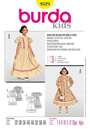 Burda Schnittmuster 9529Kinder–Biedermeier Kleider Alter: 7–14