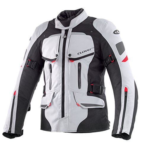 Clover Savana Herren Motorradjacke, Schwarz/Weiß, XL