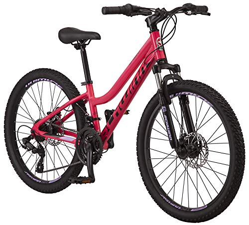 Schwinn High Timber ALX Youth/Adult Mountain Bike, Aluminum Frame and Disc Brakes, 24-Inch Wheels, 21-Speed, Coral