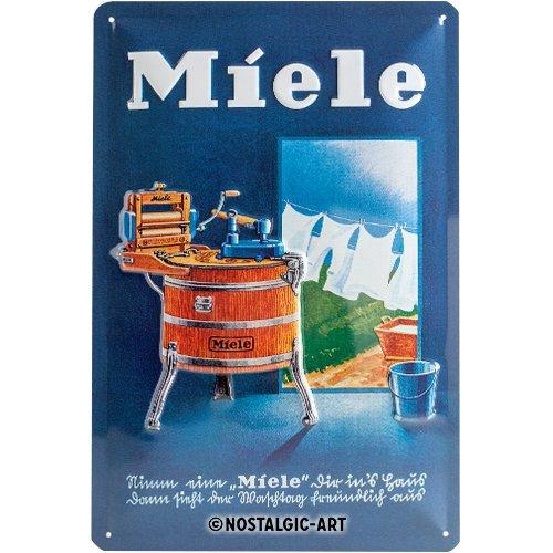 Nostalgic-Art Retro Blechschild, Miele – Waschbottich – Geschenk-Idee für Nostalgie-Fans, aus Metall, Vintage-Design zur Dekoration, 20 x 30 cm