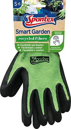 Spontex Smart Garden Paire de gants de jardinage compatibles avec écran tactile en bouteilles PET recyclées avec revêtement nitrile Taille S