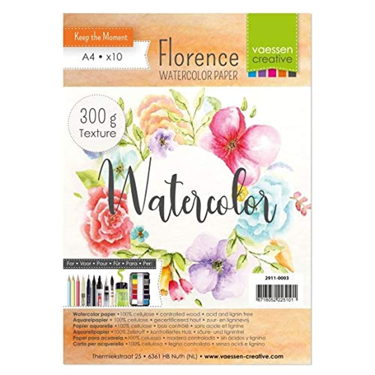 Vaessen Creative Florence Watercolour Paper A4, Ivory, 300 GSM, Artist Grade Quality, Textured Surface, 10 Sheets for Painting, Handlettering, Art Projects