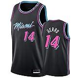 Uniformes De Baloncesto De Los Hombres, Miami Heat # 14 Tyler Herro Camisetas De Baloncesto De La NBA Suelta Tops De Deportes Transpirables Sueltos Chalecos Casuales Camisetas,Negro,XL(180~185CM)