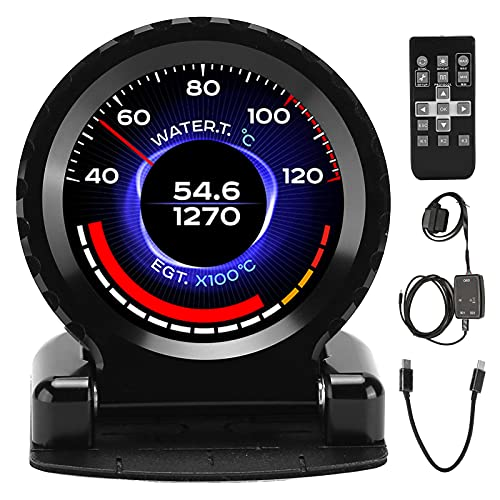 Medidor de temperatura del aceite, Cammus 2da generación Smart OBD2 Gauge LCD Turbo Boost Temperatura del agua RPM Temperatura del aceite Medidor de voltios de presión de aceite(B (negro))