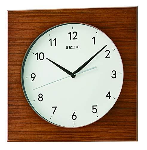 SEIKO Zebra Wood Pattern Veneer Wall Clock, Brown