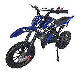 professional SYX MOTO Kids Dirt Bike Hole Shot 50cc Gas Power Mini Dirt Bike (Blue)